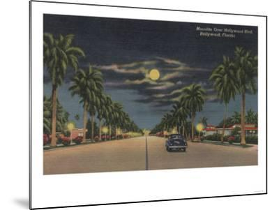 Hollywood, FL - Moonlight View over Hollywood Blvd.-Lantern Press-Mounted Art Print