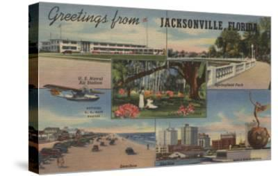 Jacksonville, Florida - Greetings From-Lantern Press-Stretched Canvas Print