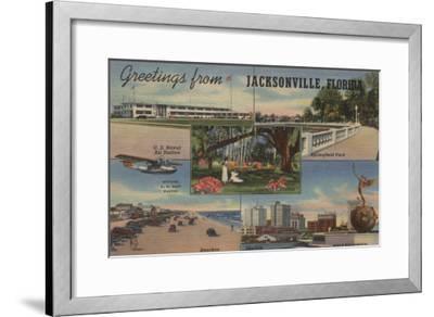 Jacksonville, Florida - Greetings From-Lantern Press-Framed Art Print