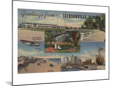Jacksonville, Florida - Greetings From-Lantern Press-Mounted Art Print