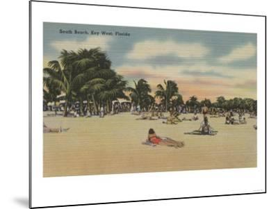 Key West, FL - View of South Beath with Sunbathers-Lantern Press-Mounted Art Print