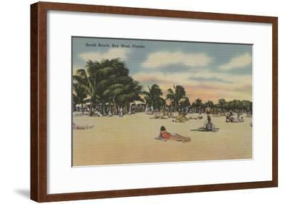 Key West, FL - View of South Beath with Sunbathers-Lantern Press-Framed Art Print