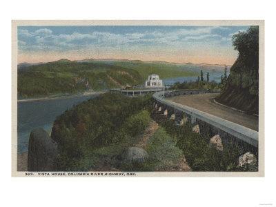 Columbia River, Oregon - Vista House View and Gorge-Lantern Press-Framed Art Print