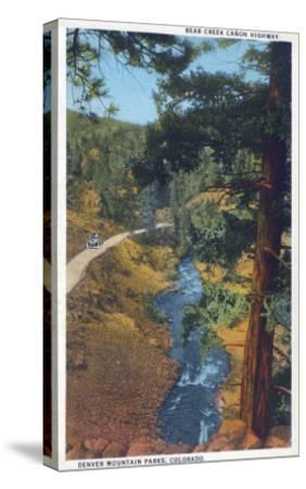 Denver Mountain Park, CO - Bear Creek Canyon Highway View-Lantern Press-Stretched Canvas Print
