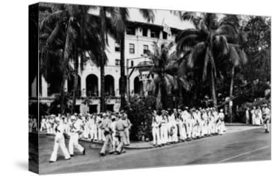 Hawaii - Navy Boys Waiting for Bus Outside YMCA Photograph-Lantern Press-Stretched Canvas Print