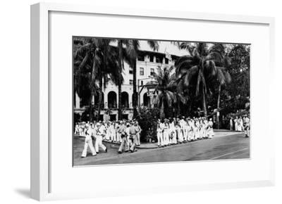 Hawaii - Navy Boys Waiting for Bus Outside YMCA Photograph-Lantern Press-Framed Art Print