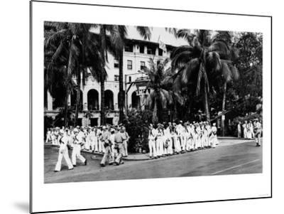 Hawaii - Navy Boys Waiting for Bus Outside YMCA Photograph-Lantern Press-Mounted Art Print