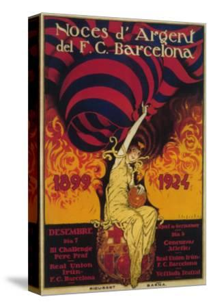 Barcelona, Spain - Soccer Promo Poster-Lantern Press-Stretched Canvas Print