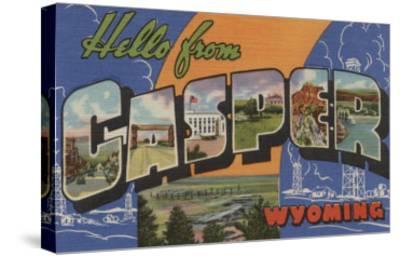 Casper, Wyoming - Large Letter Scenes-Lantern Press-Stretched Canvas Print