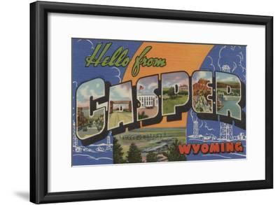 Casper, Wyoming - Large Letter Scenes-Lantern Press-Framed Art Print