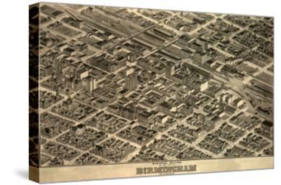 Birmingham, Alabama - Panoramic Map-Lantern Press-Stretched Canvas Print