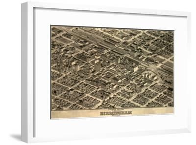 Birmingham, Alabama - Panoramic Map-Lantern Press-Framed Art Print