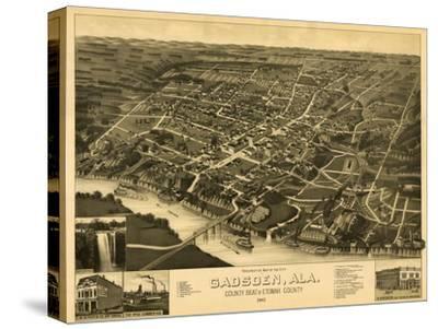 Gadsden, Alabama - Panoramic Map-Lantern Press-Stretched Canvas Print