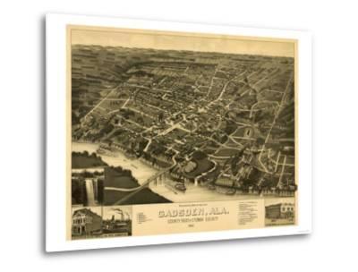 Gadsden, Alabama - Panoramic Map-Lantern Press-Metal Print