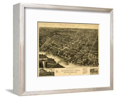 Gadsden, Alabama - Panoramic Map-Lantern Press-Framed Art Print