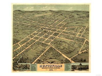 Huntsville, Alabama - Panoramic Map-Lantern Press-Art Print