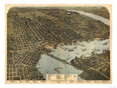 Jacksonville, Florida - Panoramic Map-Lantern Press-Framed Art Print