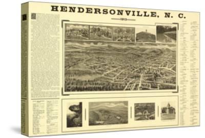 Hendersonville, North Carolina - Panoramic Map-Lantern Press-Stretched Canvas Print