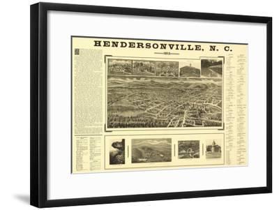 Hendersonville, North Carolina - Panoramic Map-Lantern Press-Framed Art Print