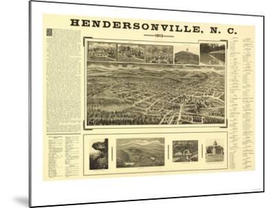 Hendersonville, North Carolina - Panoramic Map-Lantern Press-Mounted Art Print