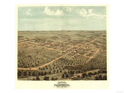 California, Missouri - Panoramic Map-Lantern Press-Framed Art Print
