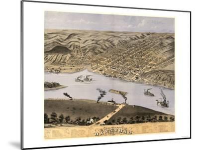 Hannibal, Missouri - Panoramic Map-Lantern Press-Mounted Art Print