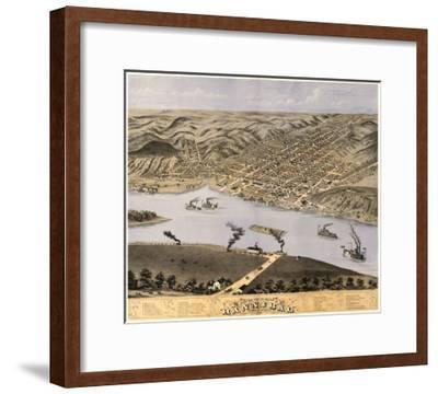 Hannibal, Missouri - Panoramic Map-Lantern Press-Framed Art Print