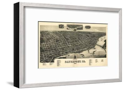 Davenport, Iowa - Panoramic Map-Lantern Press-Framed Art Print
