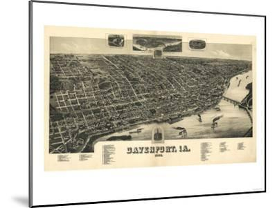 Davenport, Iowa - Panoramic Map-Lantern Press-Mounted Art Print