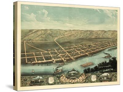 Guttenberg, Iowa - Panoramic Map-Lantern Press-Stretched Canvas Print