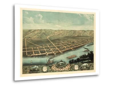 Guttenberg, Iowa - Panoramic Map-Lantern Press-Metal Print