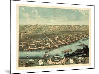 Guttenberg, Iowa - Panoramic Map-Lantern Press-Mounted Art Print