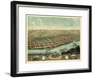 Guttenberg, Iowa - Panoramic Map-Lantern Press-Framed Art Print