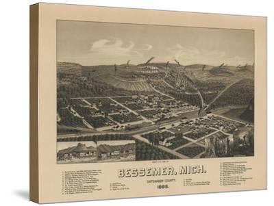 Bessemer, Michigan - Panoramic Map-Lantern Press-Stretched Canvas Print