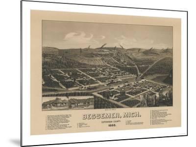 Bessemer, Michigan - Panoramic Map-Lantern Press-Mounted Art Print