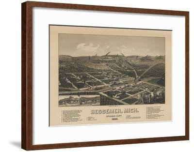 Bessemer, Michigan - Panoramic Map-Lantern Press-Framed Art Print