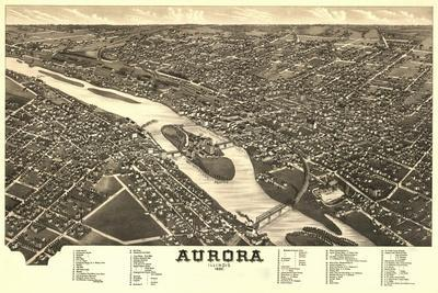 Aurora, Illinois - Panoramic Map-Lantern Press-Stretched Canvas Print