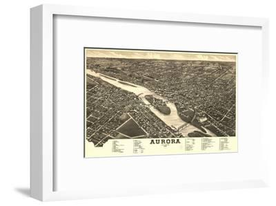 Aurora, Illinois - Panoramic Map-Lantern Press-Framed Art Print