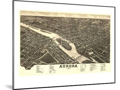 Aurora, Illinois - Panoramic Map-Lantern Press-Mounted Art Print