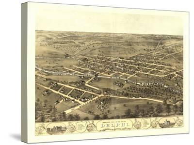 Delphi, Indiana - Panoramic Map-Lantern Press-Stretched Canvas Print