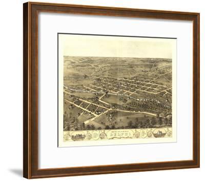Delphi, Indiana - Panoramic Map-Lantern Press-Framed Art Print