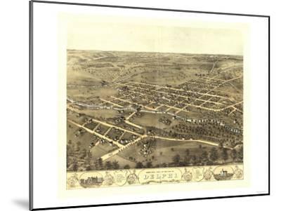 Delphi, Indiana - Panoramic Map-Lantern Press-Mounted Art Print