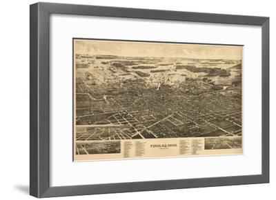 Findlay, Ohio - Panoramic Map-Lantern Press-Framed Art Print