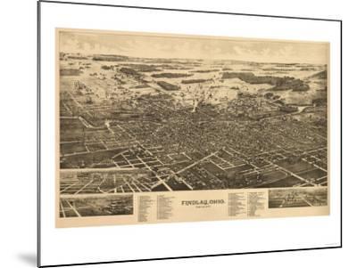 Findlay, Ohio - Panoramic Map-Lantern Press-Mounted Art Print