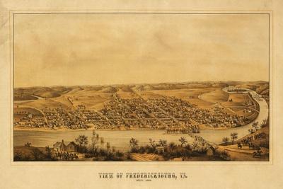 Fredericksburg, Virginia - Panoramic Map-Lantern Press-Stretched Canvas Print