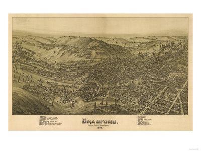 Bradford, Pennsylvania - Panoramic Map-Lantern Press-Framed Art Print