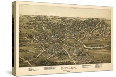 Butler, Pennsylvania - Panoramic Map-Lantern Press-Stretched Canvas Print