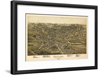 Butler, Pennsylvania - Panoramic Map-Lantern Press-Framed Art Print