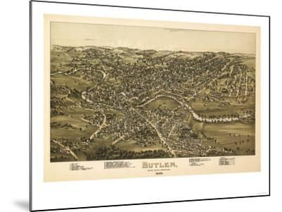Butler, Pennsylvania - Panoramic Map-Lantern Press-Mounted Art Print