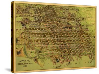 Erie, Pennsylvania - Panoramic Map-Lantern Press-Stretched Canvas Print
